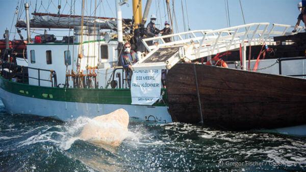 Greenpeace versenkt Steine am Adlergrund vor Fehmarn